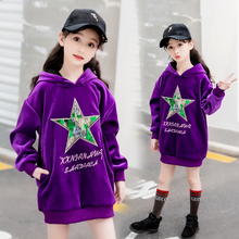 Girls long Sweatshirts Winter Spring Autumn purple velvet sweater sleeve T-shirt kids hoodies clothes 3210