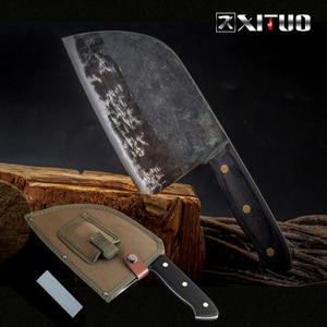 Image 1 - XITUO cuchillo de Chef Tang completo, forjado a mano, acero revestido de carbono, cuchillos de cocina, filetear, cortar, cuchillo de carnicero ancho