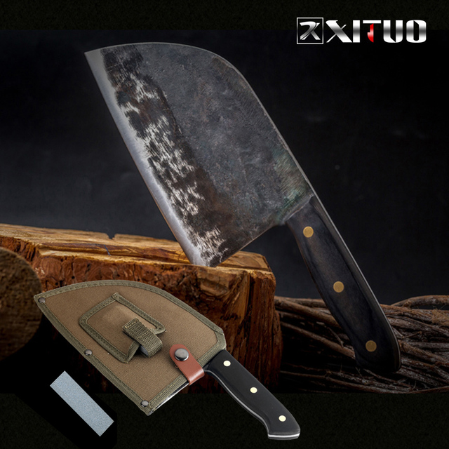 XITUO cuchillo de Chef Tang completo, forjado a mano, acero revestido de carbono, cuchillos de cocina, filetear, cortar, cuchillo de carnicero ancho