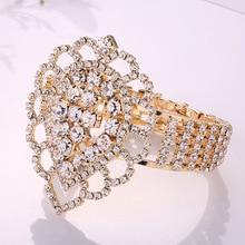 YD&YDBZ Bohemia Style Full Rhinestone Bracelet Bangle Fashion Women Geometric Hollow Out Party Bracelet Bangle Jewelry Wholesale stylish rhinestone hollow out elastic bracelet for women