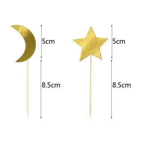 Image 5 - Eid Mubarak Cupcake Topper String Glitter Silver Gold Black Moon Star Garland Bunting Ramadan Islam Muslim Event Party Supplies