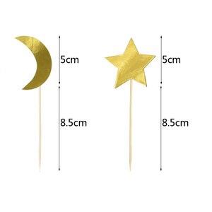 Image 5 - Eid Mubarak kek Topper dize Glitter gümüş altın siyah ay yıldız Garland Bunting ramazan İslam müslüman olay parti malzemeleri