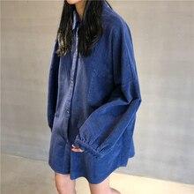 Mooirue Harajuku Corduroy Loose Coats Women Autumn 2019 Long Sleeve Casual Streetwear Cardigan Korean Oversized Shirts Tops