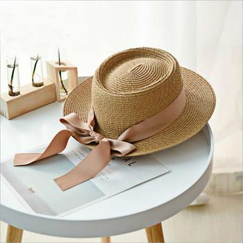 Lato szerokie rondo kapelusze słomkowe wielkie słońce kapelusze dla kobiet ochrona UV Panama floppy kapelusze plażowe panie łuk Chapeu Feminino czapki tanie i dobre opinie oZyc Dla dorosłych Słomy WOMEN Sun Hats Na co dzień Stałe Spring Summer Autumn Khaki beige milk white 56 -58cm