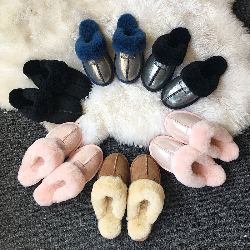 2021 Women Slipper Winter Snow Boots Non-slip Leather Real Wool Fur Warm Fashion Ladies Shoes Home 1
