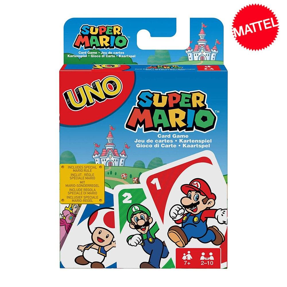 Mattel Games UNO Super Mario карточная игра семейная забавная мультипликационная настольная игра покер игральные карты детские игрушки