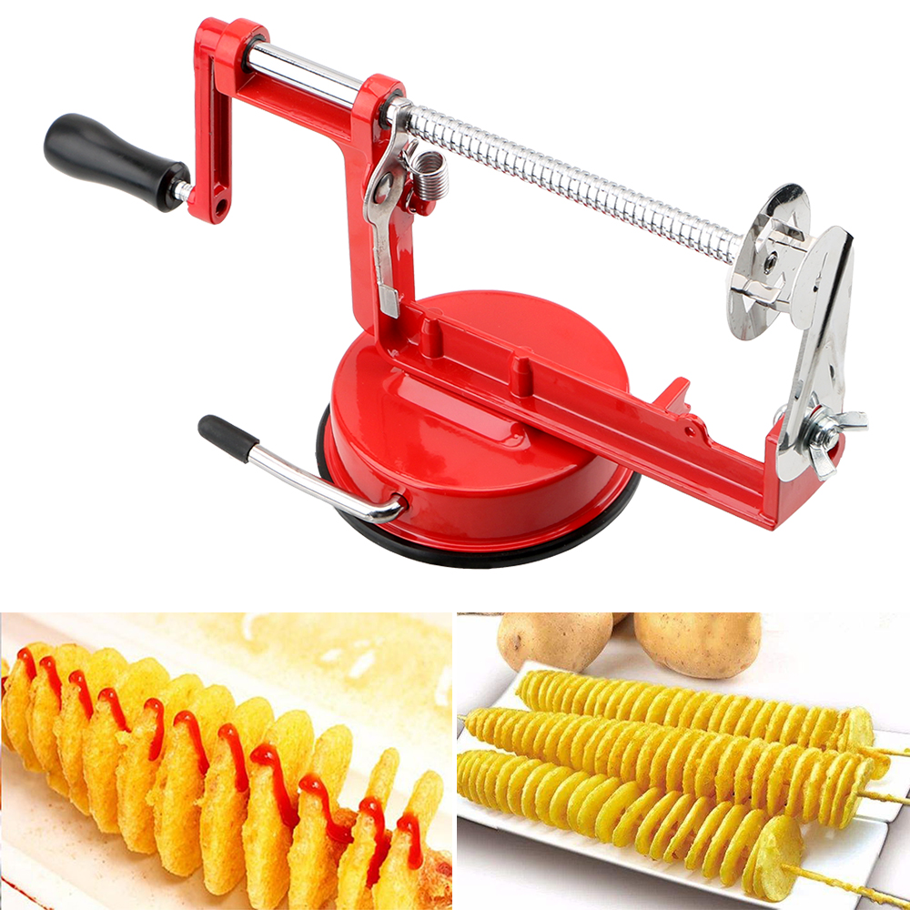 Amazing Manual Red Stainless Steel Twisted Potato Apple Slicer Spiral French Fry Cutter Cooking Tools Machine Vegetable Spiraliz