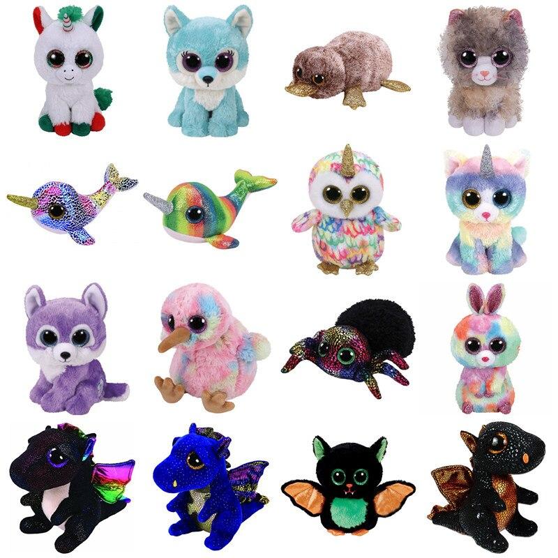 """Big Eyes Cute Owl Monkey Unicorn Rabbit Dog Plush Toy Doll Stuffed & Plush Animals 6"""" 15cm(China)"""