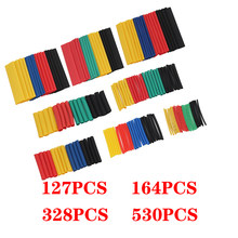 127/164/328/530pcs Heat Shrink Tube Kit Shrinking Assorted Polyolefin Insulation Sleeving Heat Shrink Tubing Wire Cable 2:1