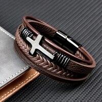 Pulsera de cuero cruzado de acero inoxidable para hombre, brazalete de estilo hip hop, con cierre magnético multicapa, color marrón y negro