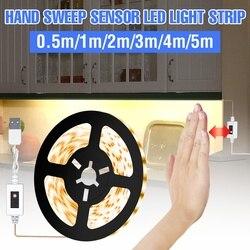 Led Lamp 0.5M 1M 2M 3M 4M 5M Led Hand Sweep Sensing Light Tape USB Waterproof Flexible Led Light Strip Bedroom Kitchen Lighting
