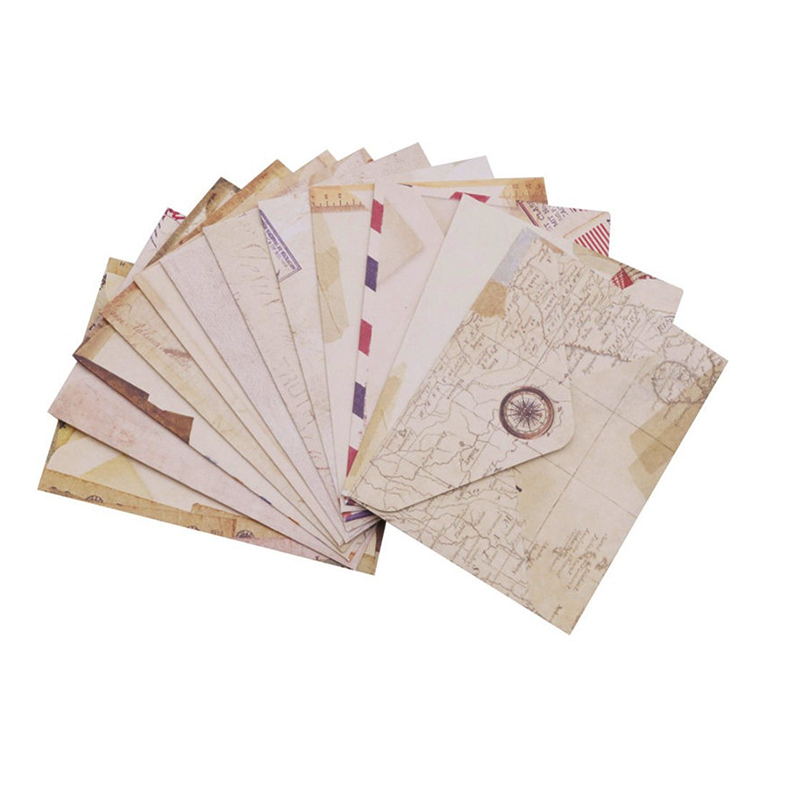 1 Bags 12 Pcs Cute Mini Retro Craft Paper Envelopes Vintage European Style Envelope For Card Scrapbooking Gift DIY Handmade