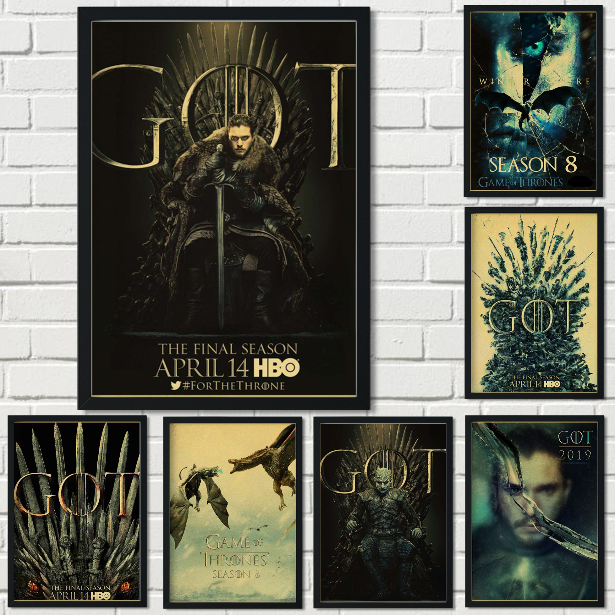 American fantasy adventure popular TV series Game of Thrones retro kraft paper poster decoration painting wall sticker poster 55 image