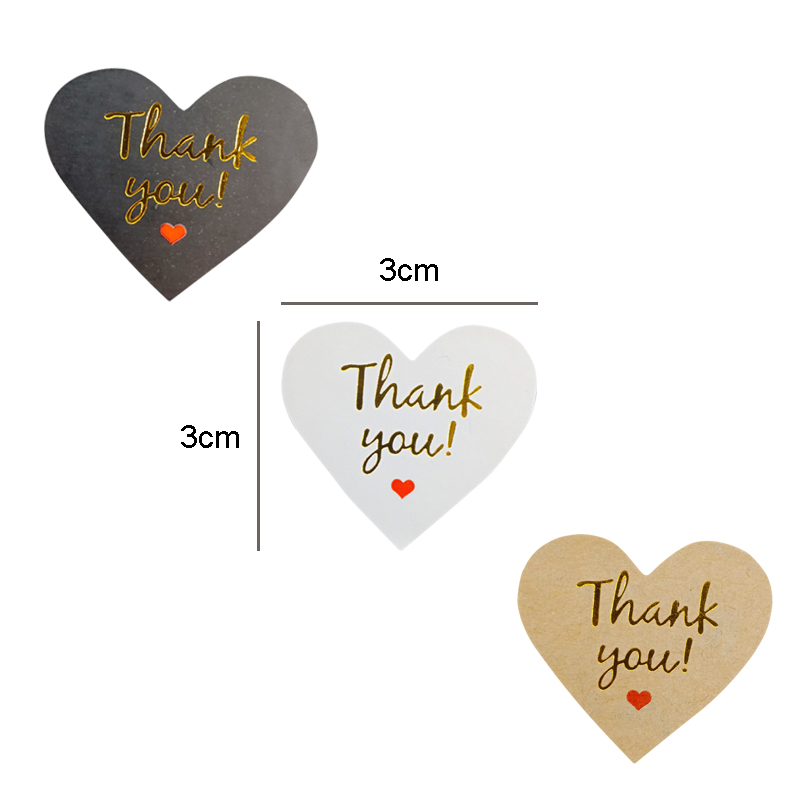 100 Pcs lot Lovely Heart design Paper Stickers Golden Thank You Scrapbooking Sticker Seals Labels For Gift in Stationery Stickers from Office School Supplies