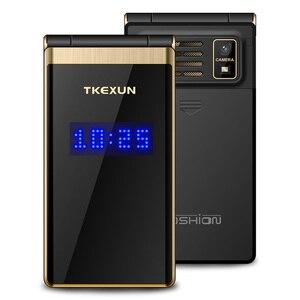 """Image 2 - TKEXUN мобильный телефон с откидным сенсорным экраном 3,0 """", дисплей, скорость телефонного звонка, металлический корпус, Senior, не умный"""