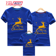 Family Matching T-Shirt Outfits Christmas Mom Baby Deer Dad New-Year