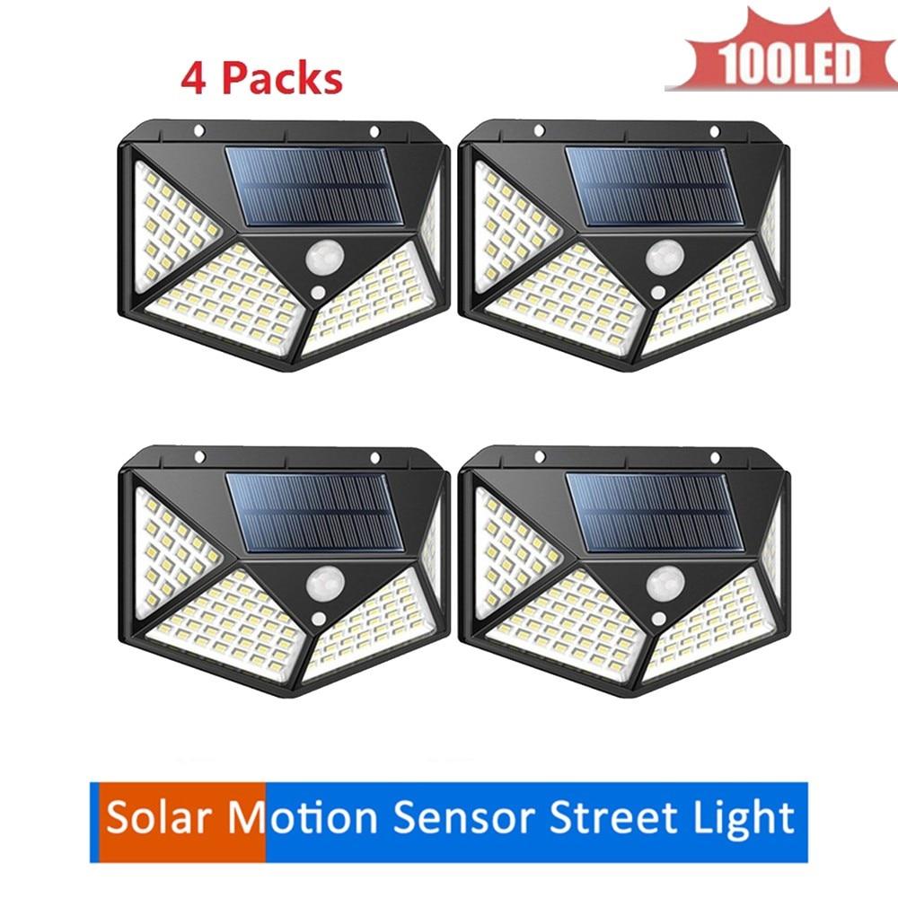100 LED Outdoor Solar Wall Lamp PIR Motion Sensor Waterproof Light Garden Light Path Emergency Security Light 3 Sided Luminous 4