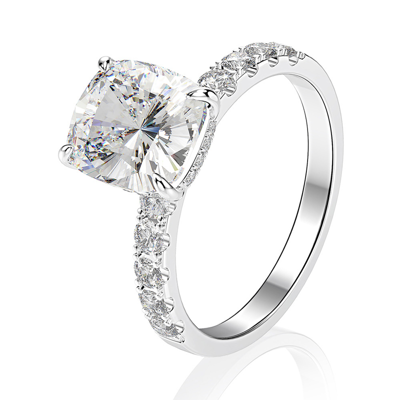 OEVAS Luxury 100% 925 Sterling Silver Radiant Created Moissanite Gemstone Wedding Engagement Ring Fine Jewelry Wholesale