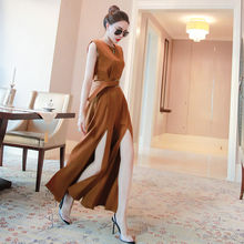 Summer Fashion Female Elegant Loose sleeveless Jumpsuit with belt office lady wide leg Trousers Women  Long Pants Overalls