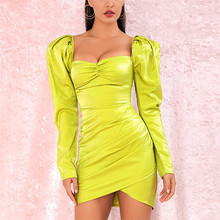 Yesexy 2019 Solid Color Pearlescent Sexy Square Collar Women Mini Dresses Long Puff Sleeve Backless MQ176