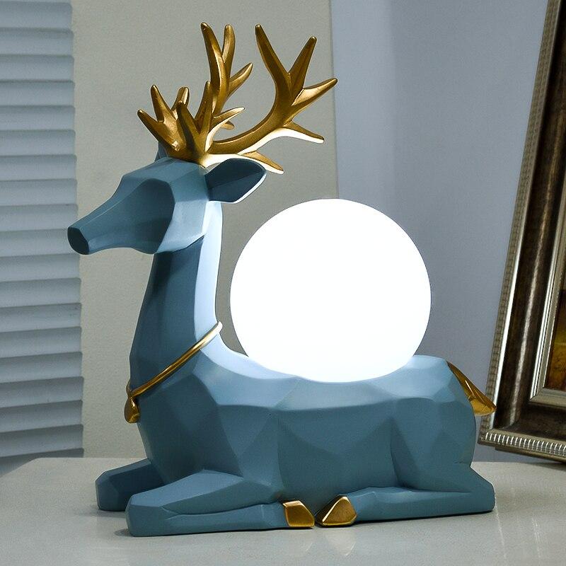 Modern Nordic Abstract Geometric Resin Deer Statue Desk Lamps E27 Led Animal Table Lamp For Bedside Bedroom Reading Night Light