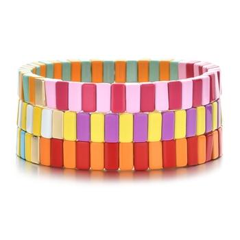 NEW Design DIY Beads Enamel Tile Bracelet Pulseras Mujer Moda 2020 Bracelets Jewelry Women Bileklik Boho Rainbow Armband