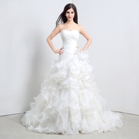 Ready To Ship Cheap Wedding Dress 2015 New Sweetheart Pleats Ruffles Organza White Ivory Bridal Ball Gowns Chinese Dresses