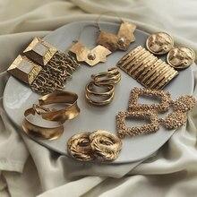 FASHIONSNOOPS nouvelle déclaration boucles d'oreilles pour les femmes géométrique or métal balancent suspendus boucle d'oreille bijoux Brincos