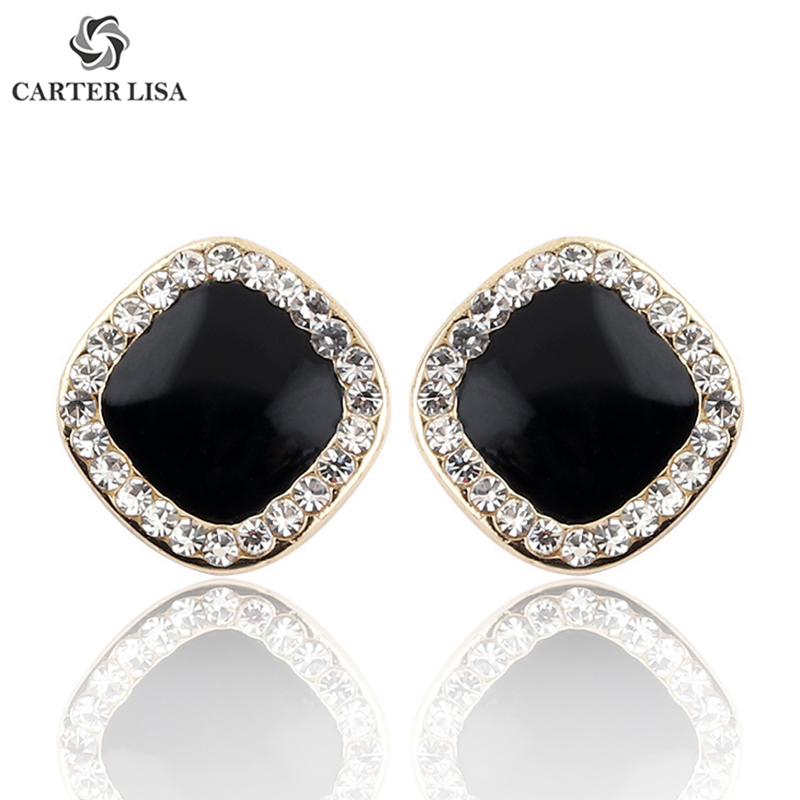 CARTER LISA Female Fashion Dainty Black Square Shinning Rhinestone Stud Earrings Best Gift For Women Girl Accessories Oorbellen