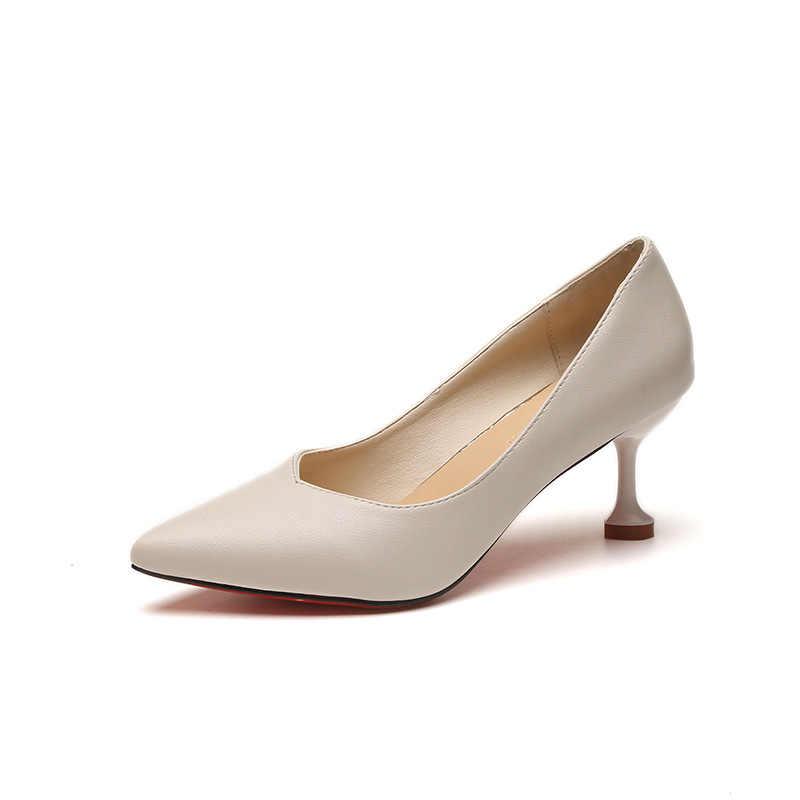 Baru Sederhana Sepatu Hak Tinggi Runcing dengan Mulut Dangkal Stiletto Super Tinggi Tumit Platform Profesional OL Sepatu Wanita Pengantin Pernikahan Sepatu