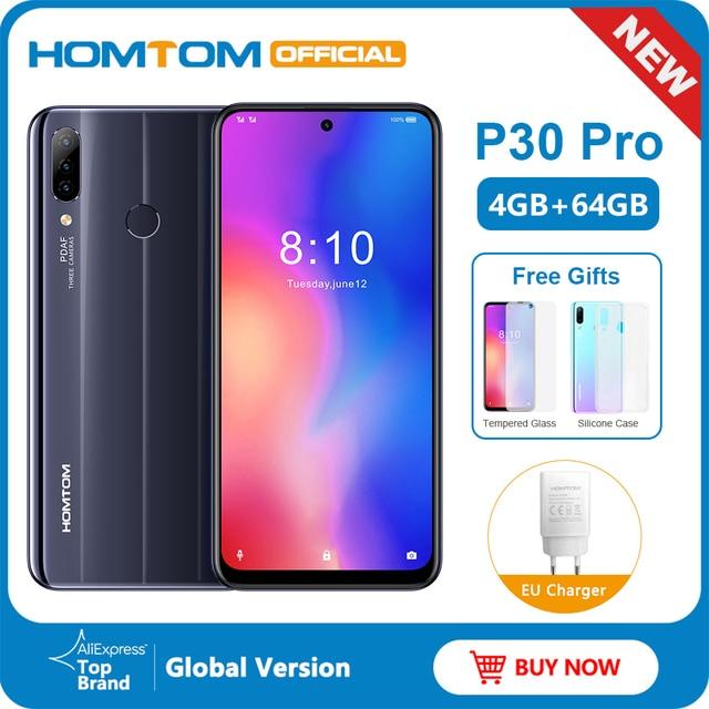 HOMTOM P30 pro Android 9.0 Helio P23 MTK6763 Octa çekirdek 4GB 64GB Smartphone 6.41 inç 4000mAh 4G FDD LTE cam durumda cep telefonu