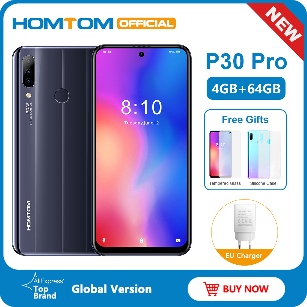 HOMTOM P30 pro Android 9.0 Helio P23 MTK6763 Octa Core 4GB 64GB Smartphone 6.41inch 4000mAh 4G FDD-LTE Glass case Mobile Phone