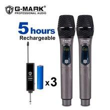 G MARK x220u uhf microfone sem fio gravação karaoke microfone handheld com recarregável bateria de lítio receptor