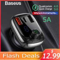 Baseus FM transmetteur modulateur Bluetooth 5.0 mains libres voiture Kit Audio lecteur MP3 avec PPS QC3.0 QC4.0 5A rapide voiture chargeur automatique