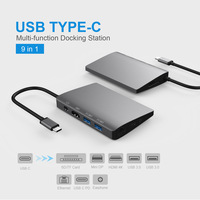 9 in 1 USB Type C Hub Adapter Multi Function Type C Hubs Splitter 4K HDMI Expansion Dock Type C hub Compatible with Macbook Pro