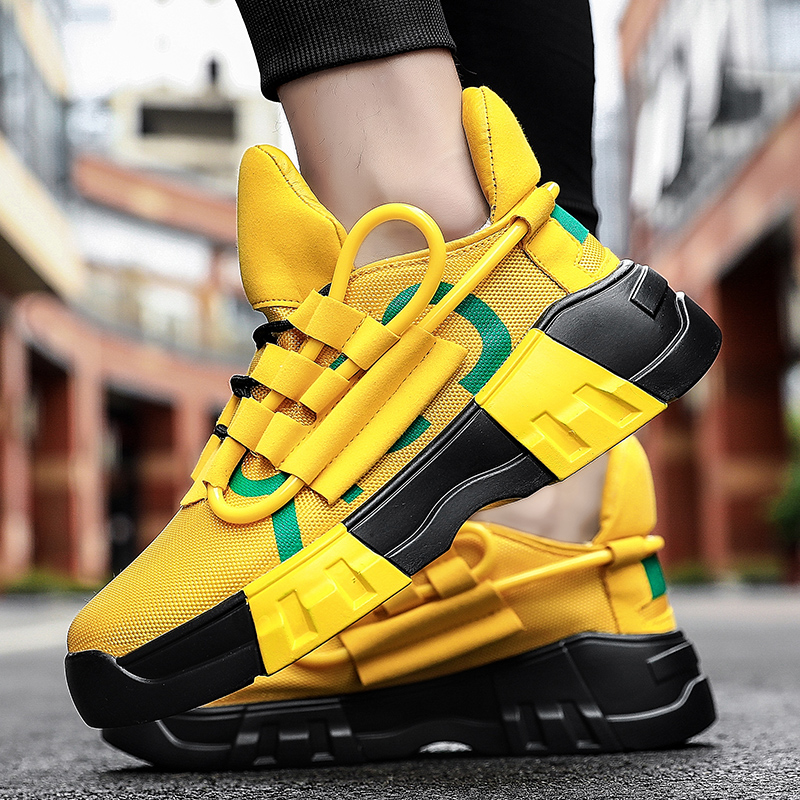 Chunky Sneakers Sports Casual Shoes Hip Hop Streetwear Thick Bottom Men Yellow INS Running Shoes Basket Tenis Masculino Adulto