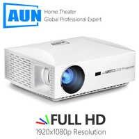 ¡AUN proyector LED F30 contra salpicaduras y bandeja para viruta, lámina de acero 1920mm para resolución de 1080P! Actualización de 6500 lúmenes, Mini proyector Full HD para cine en casa, proyector 3D HDMI