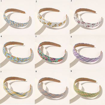 Sweet Floral Plaids Hair Hoop PlasticWomen Fashion Vintage Canvas Wide Striped Plaids Headband Head Wrap Hair Accessories image
