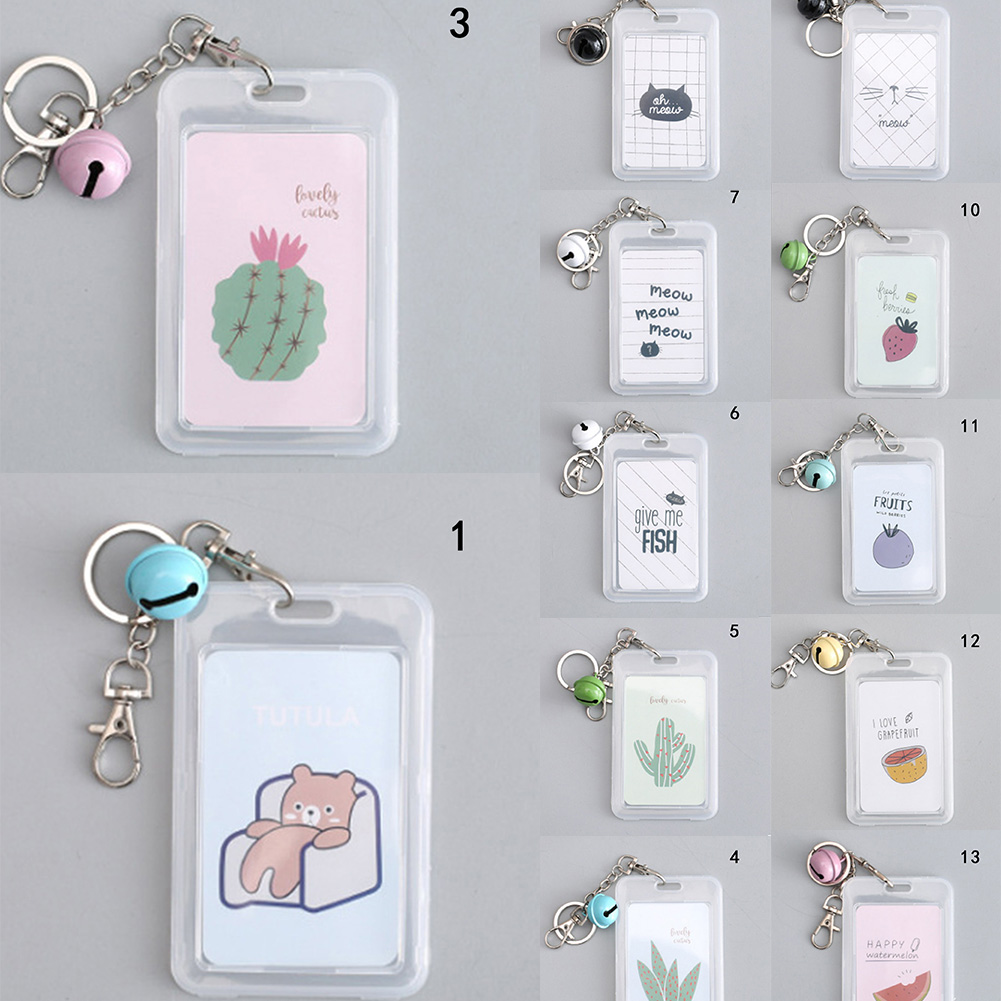 Women Men Business Card Holder Cartoon Cute Retractable Credit Card Holders Bank ID Holders Badge Child Bus Card Cover Case