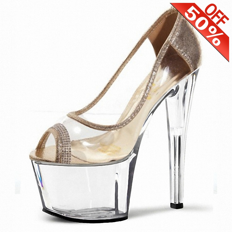 Elegant novelty transparent crystal sandals wedding <font><b>sexy</b></font> party shoes <font><b>17cm</b></font> <font><b>high</b></font> <font><b>heels</b></font> platform Silver 5 inch peep toe Gold pumps image