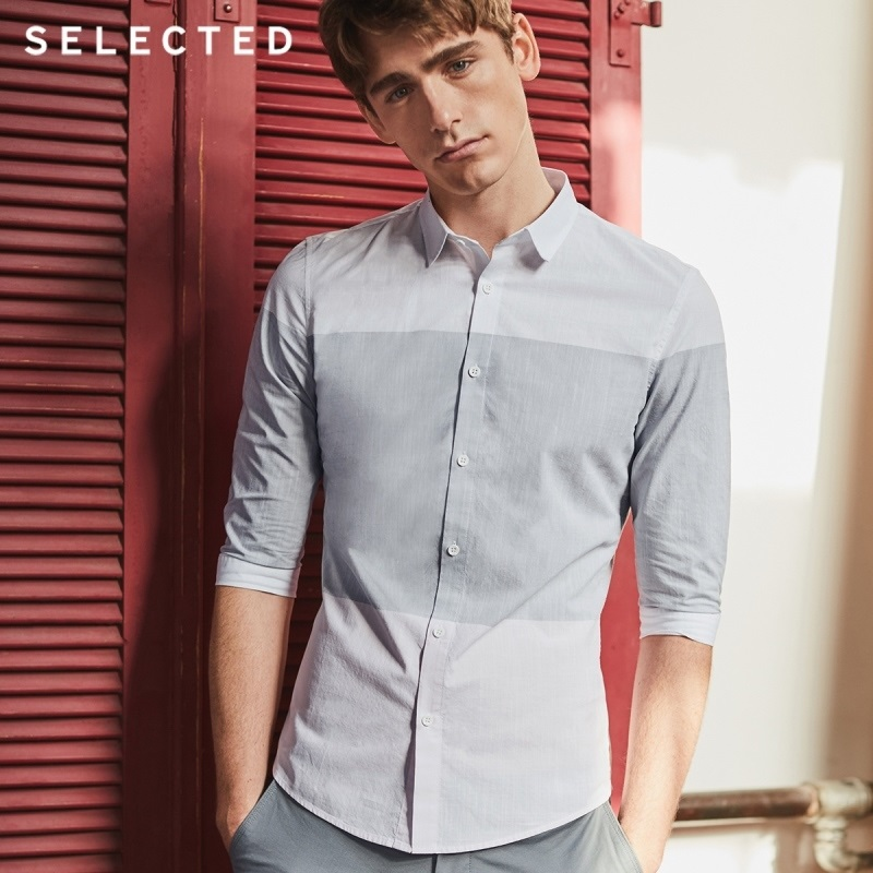 SELECTED Men's Cotton Stripe Assorted Colors 3/4 Sleeves Slim Business Casual Cropped Shirt S|418231509