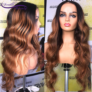 Image 1 - 180% Colored Human Hair Wigs Brown Color Wigs 13X4 Body Wave Remy Preplucked Ombre Brown Lace Front Wig Preplucked Dream Beauty