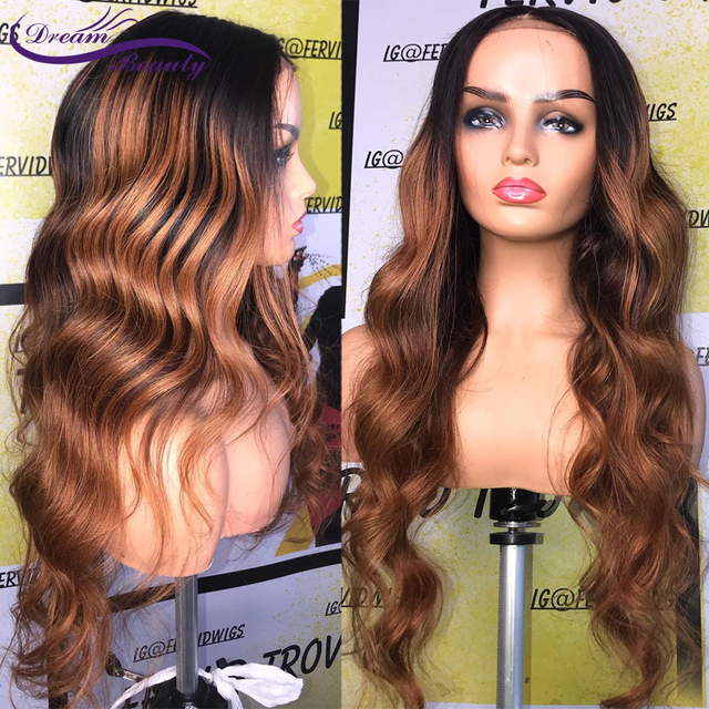 180% Colored Human Hair Wigs Brown Color Wigs 13X4 Body Wave Remy Preplucked Ombre Brown Lace Front Wig Preplucked Dream Beauty