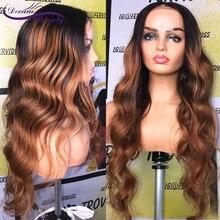 Ombre brązowy peruka brazylijski Remy ludzki włos włosów peruki Pre oskubane naturalną linię włosów faliste 13x4 koronki przodu peruki dla niemowląt włosy sen urody