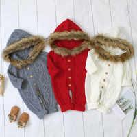 Pelele para bebé, ropa de invierno bonita para bebé recién nacido, suéter para niño y niña, suéter de punto con capucha, cuello de piel sintética, mono cálido, ropa infantil