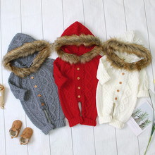 new baby romper cute baby winter clothes Newborn Baby Boy Girl Sweater Hooded Knit Faux Fur Collar Warm Jumpsuit Infant Clothes