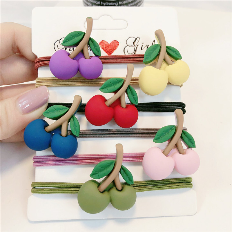 6Pcs Girls Sweet Cherry Elastic Hair Bands Cute Ponytail Scrunchies Candy Color Accessories Fashion Rubber Gums