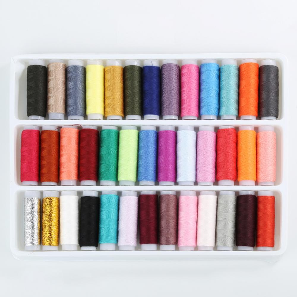 40% Hot Sales!!! 39 Mixed Colors Pure Polyester Sewing Thread Machine Hand 200 Yard Each Spool