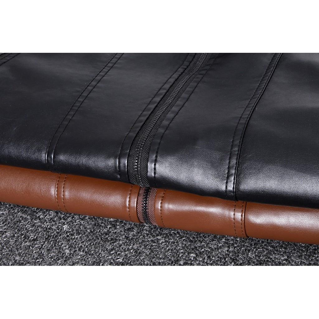 H6f0089e1871548dd898e1146b887a087N Zipper Closure for Men Leather Jacket Autumn Winter Warm Fur Lining Lapel Leather outerwear layer дубленка мужская кожаная Coat