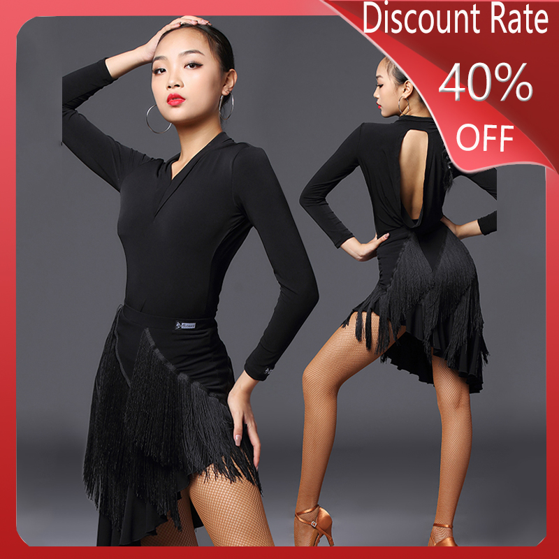New Latin Dance Tops Women Long Sleeve Backless Tops Partice Performance Clothing Adult Latin Dance Competition Dresses DQS3562